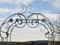 detail wrought iron garden arch top
