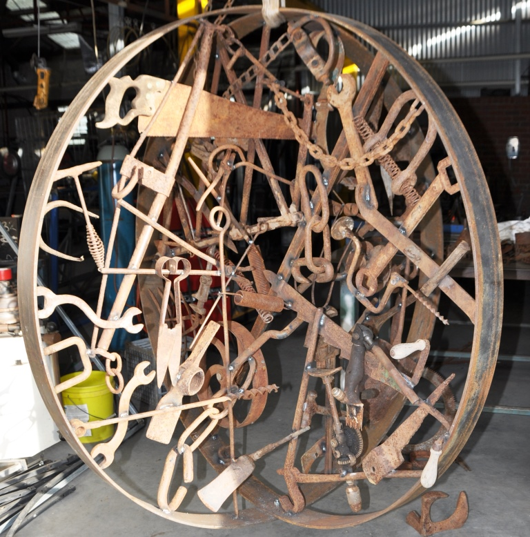 Metal sculpture in progress