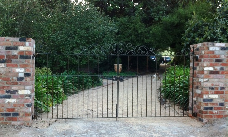 Wrought iron country estate gate