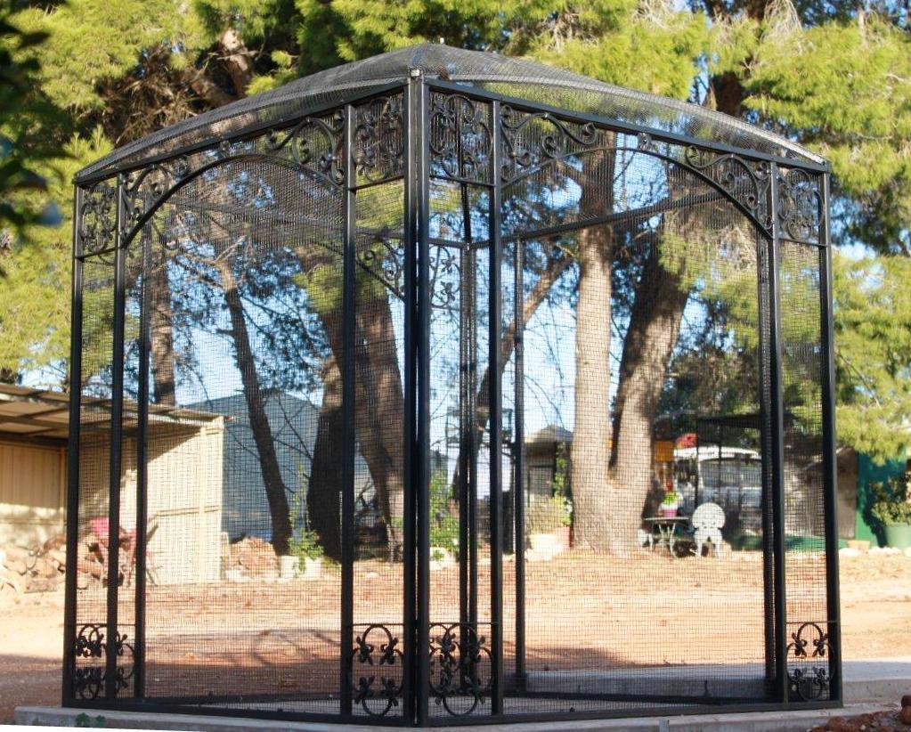 wrought iron bird aviary
