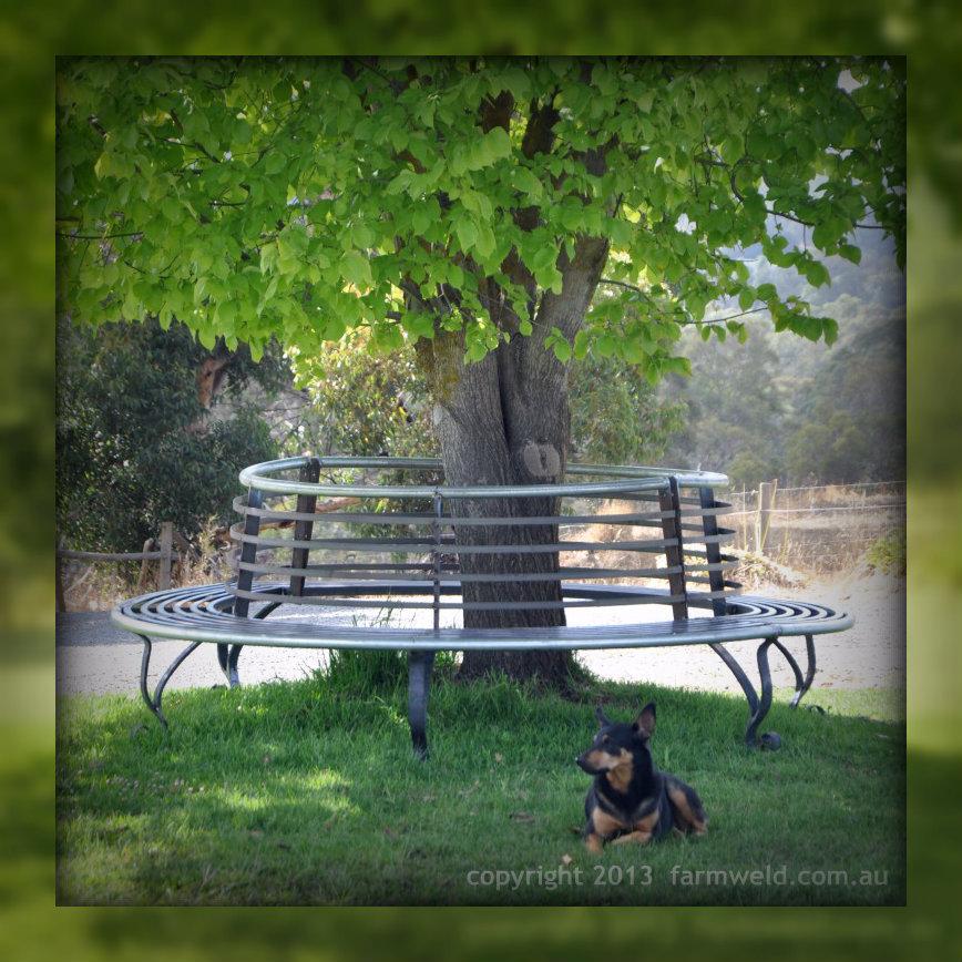 Wrought iron tree bench