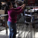 Wrought iron fence panel in production