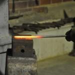 Blacksmith forging the leaf